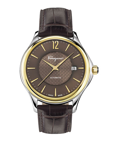 Ferragamo Time 41mm Two-Tone Watch, Brown