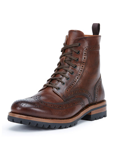 George Lugged Brogue Lace-Up Boot, Cognac