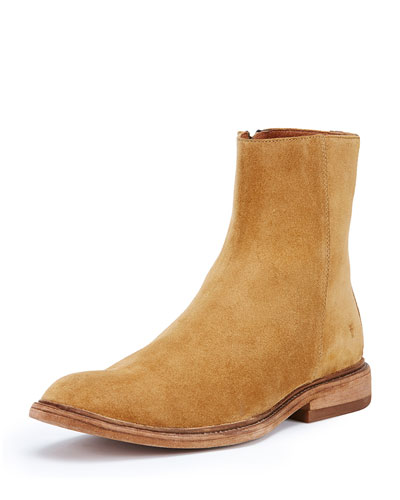 Chris Inside-Zip Suede Boot, Wheat