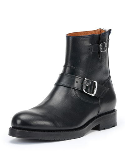Brayden Leather Engineer Boot, Black