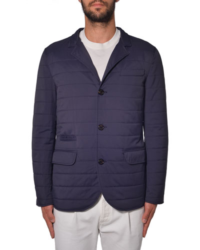 Quilted Down Blazer Jacket, Navy