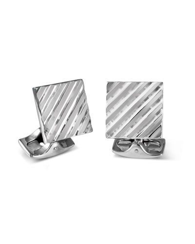 Square Engine Turned Cuff Links