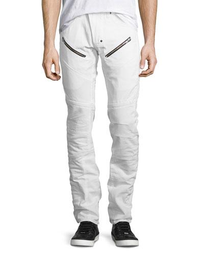 Slim-Straight Moto Jeans, White