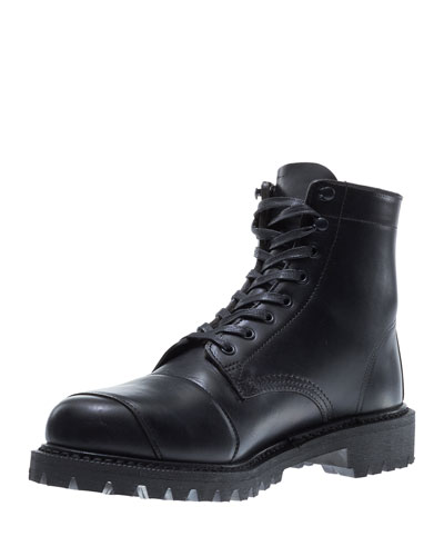 Dylan Leather Moto Boot, Black