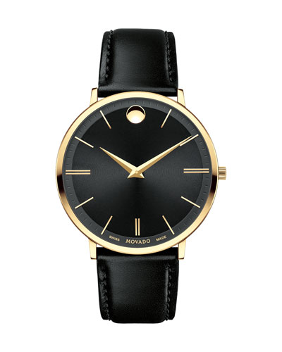 Movado Watches 40MM ULTRA SLIM WATCH, BLACK