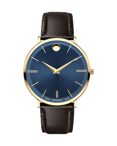 40mm Yellow Gold Ultra Slim Watch, Brown