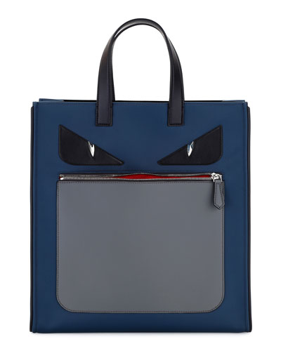 Monster Neoprene & Leather Tote Bag, Blue/Gray