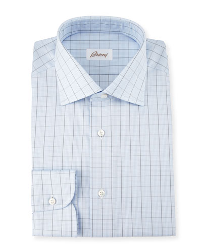 Glen-Plaid Check Dress Shirt, Light Blue