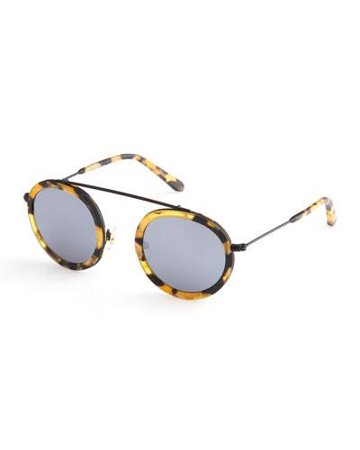 Conti Mirrored Round Aviator Sunglasses, Matte Congo