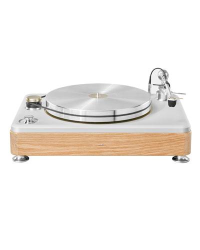 The Runwell White Oak Wood Turntable, Silver/Oak