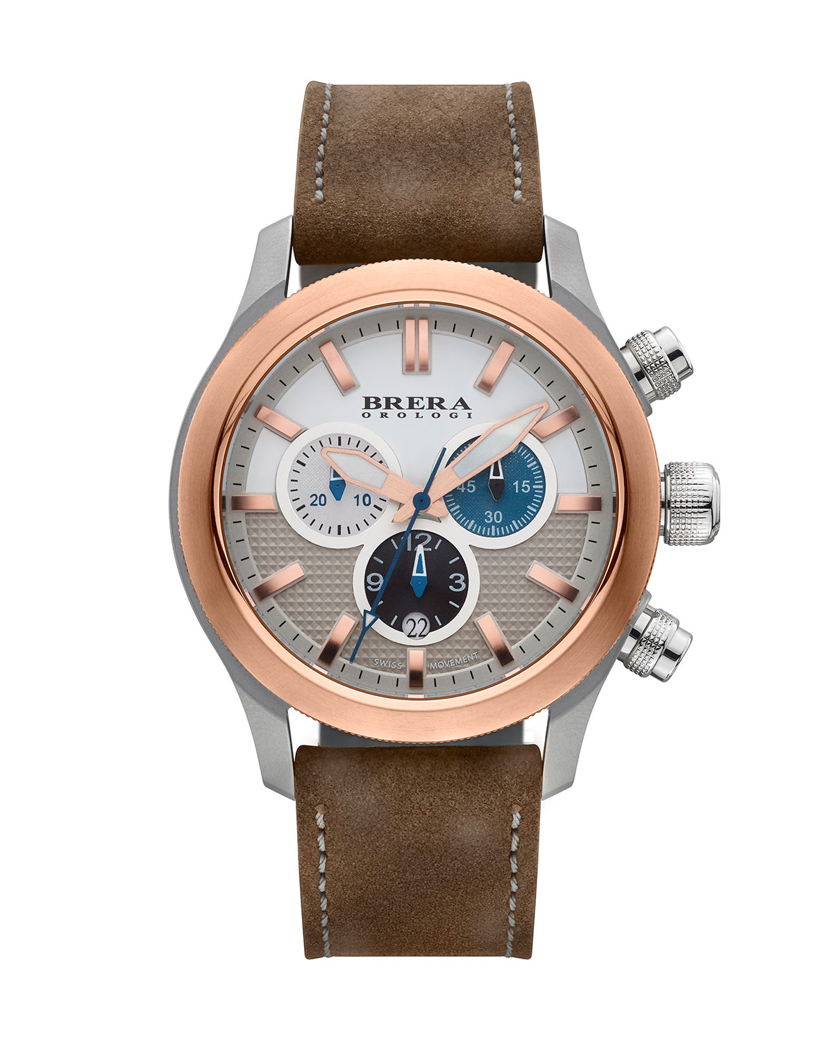 Eterno Chronograph Watch, Rose Gold/Brown