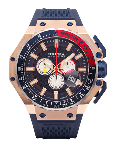 Gran Turismo Chronograph Watch, Navy/Rose