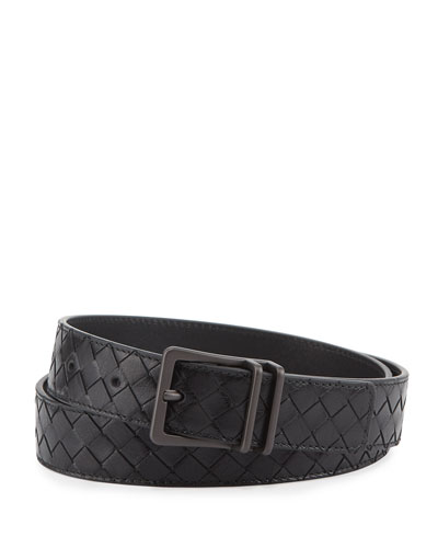 Men's Intrecciato Calf Leather Belt, Black
