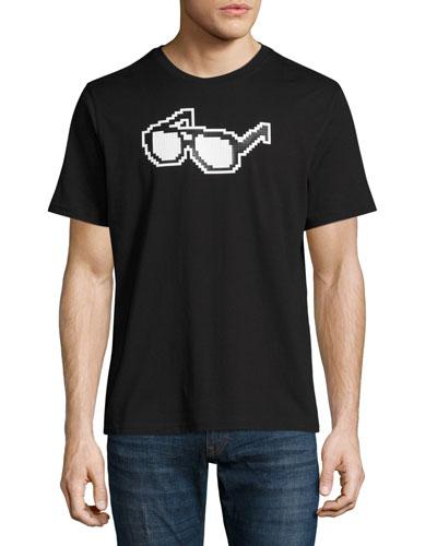 8-Bit Glasses Graphic T-Shirt, Black