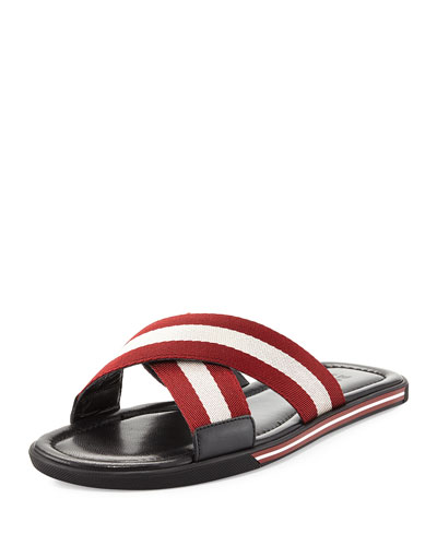 Bonks Men's Trainspotting-Stripe Fabric Slide Sandal, Red/White/Black