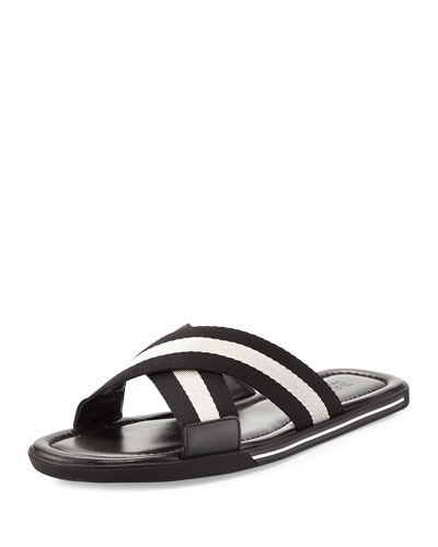 Bonks Men's Trainspotting-Stripe Fabric Slide Sandal, Black/White