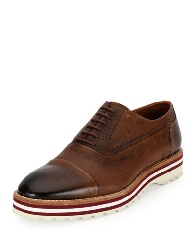 Moby Cap-Toe Textured Leather Platform Oxford, Brown