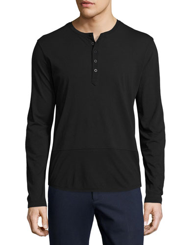 Mixed-Media Henley T-Shirt, Black