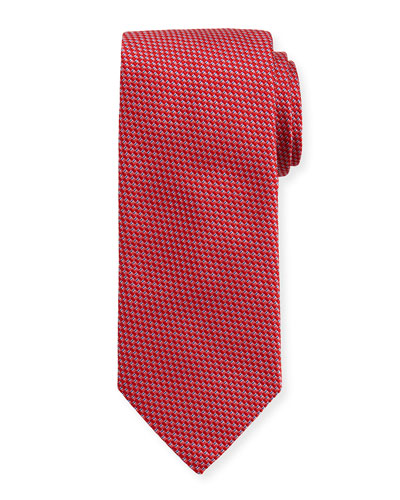 Woven Two-Tone Textured Neat Silk Tie, Pink/Red