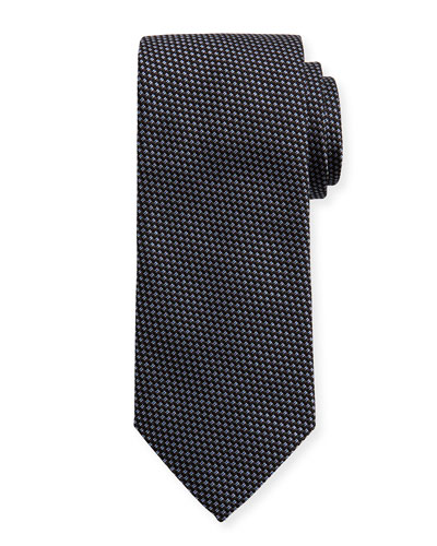 Woven Two-Tone Textured Neat Silk Tie, Gray