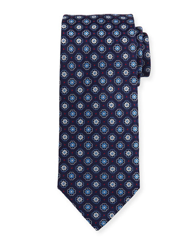 Woven Flower Medallion Silk Tie, Blue