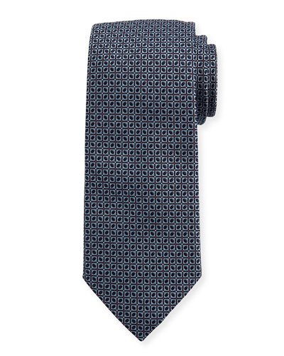 Woven Dotted Fancy Box Silk Tie, Blue