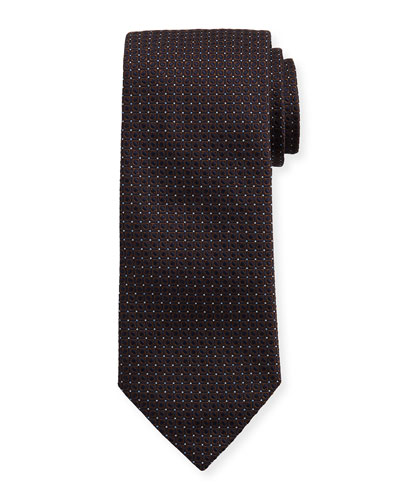 Woven Dotted Fancy Box Silk Tie, Brown