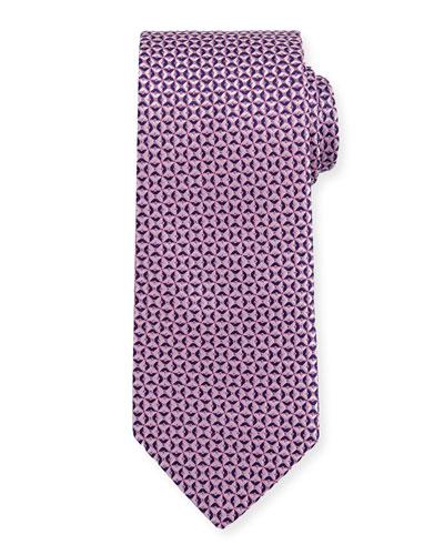 Woven Textured Pinwheel Silk Tie, Pink