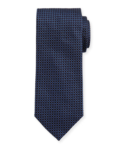 Woven Dotted Circles Neat Silk Tie, Blue