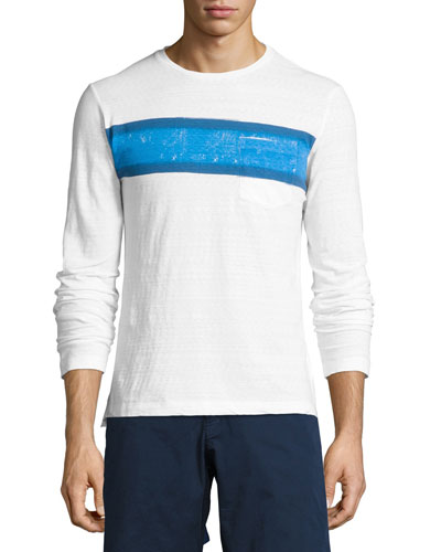 Robby Classic-Fit Striped Long-Sleeve T-Shirt, White/Maritime/Navy