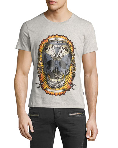 Skull-Print Graphic T-Shirt, Gray