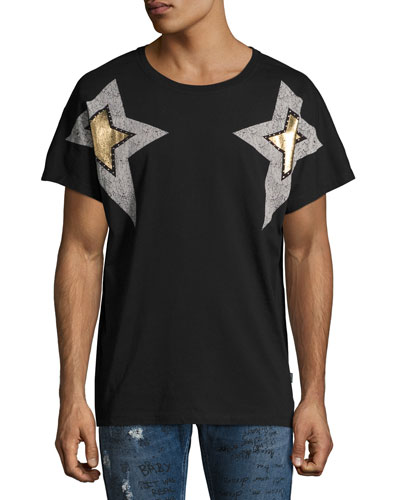 Metallic Star-Print Graphic T-Shirt, Black