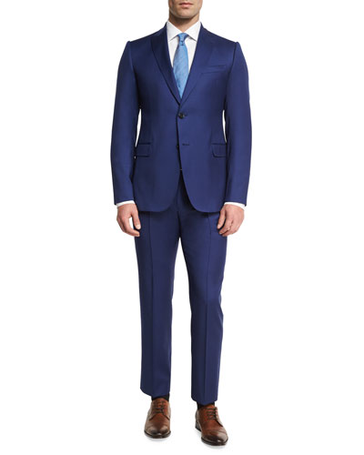 Micro Wool Two-Piece Suit, Bright Blue