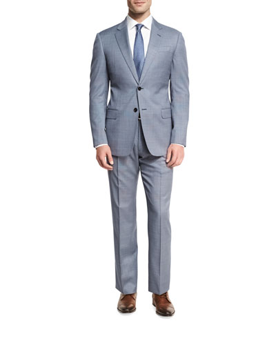 Neat Wool Two-Piece Suit, Blue/White