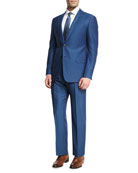 Birdseye Wool Two-Piece Suit, Ocean Blue