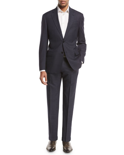 Plaid Wool Two-Piece Suit, Navy