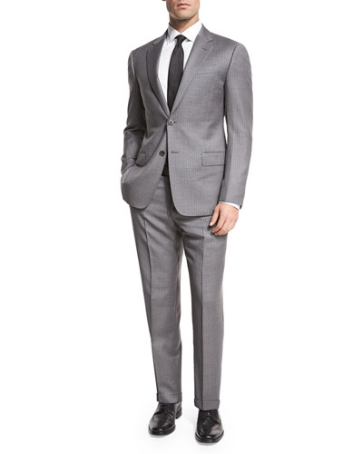 Striped Wool Two-Piece Suit, Gray