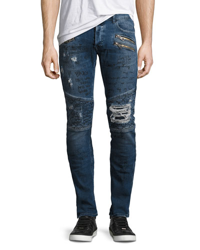 Graffiti Moto Skinny Jeans, Blue