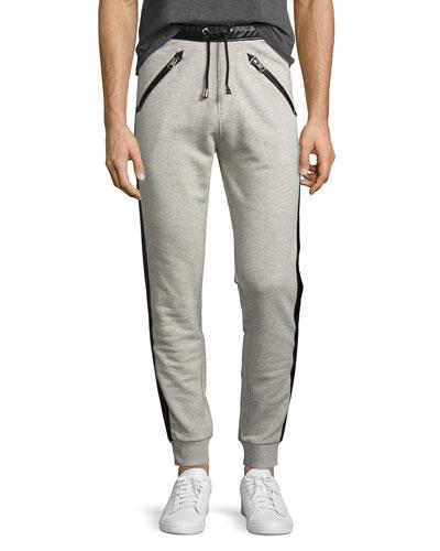 Track-Stripe Jogger Pants, Gray
