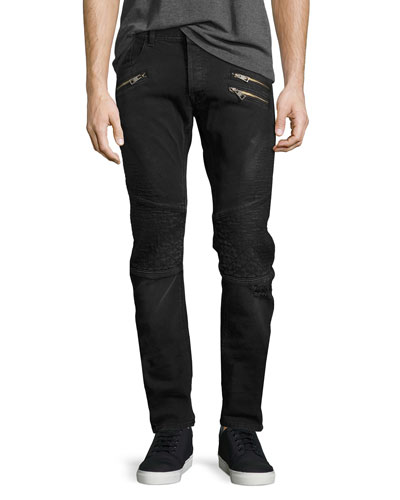 Distressed Moto Skinny Jeans with Zippers, Faded Black