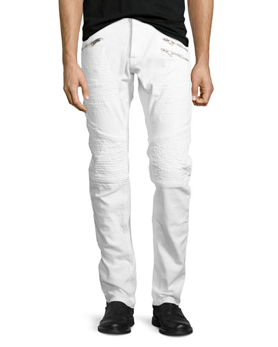 Distressed Slim-Straight Moto Jeans, White