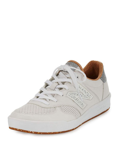 Men's CRT300v1 Leather Trainer Sneaker, White/Tan
