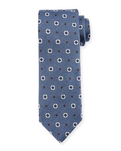 Flower & Square Silk Tie