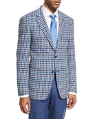 Check Wool Two-Button Sport Coat, Light Gray/Blue