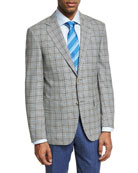 Check Wool Two-Button Sport Coat, Black/White