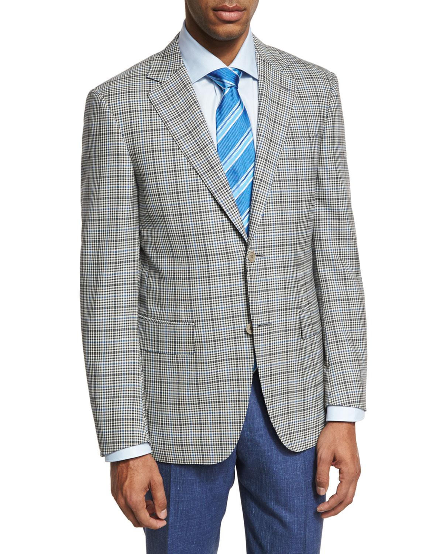 Check Wool Two-Button Sport Coat, Black/White