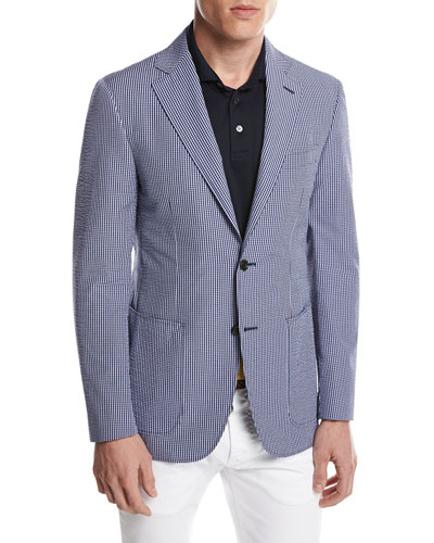 Kei Seersucker Micro-Check Blazer, Blue/White