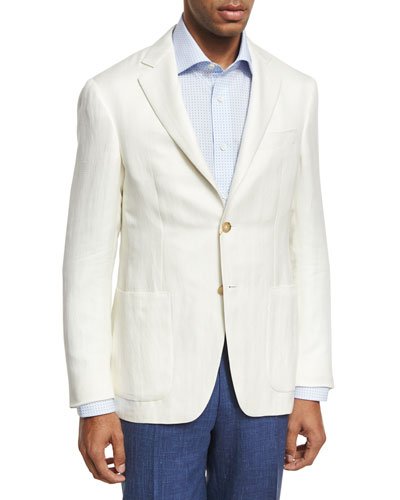 Herringbone Silk-Linen Two-Button Blazer, Ivory