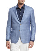 Wool-Blend Two-Button Blazer, Light Blue