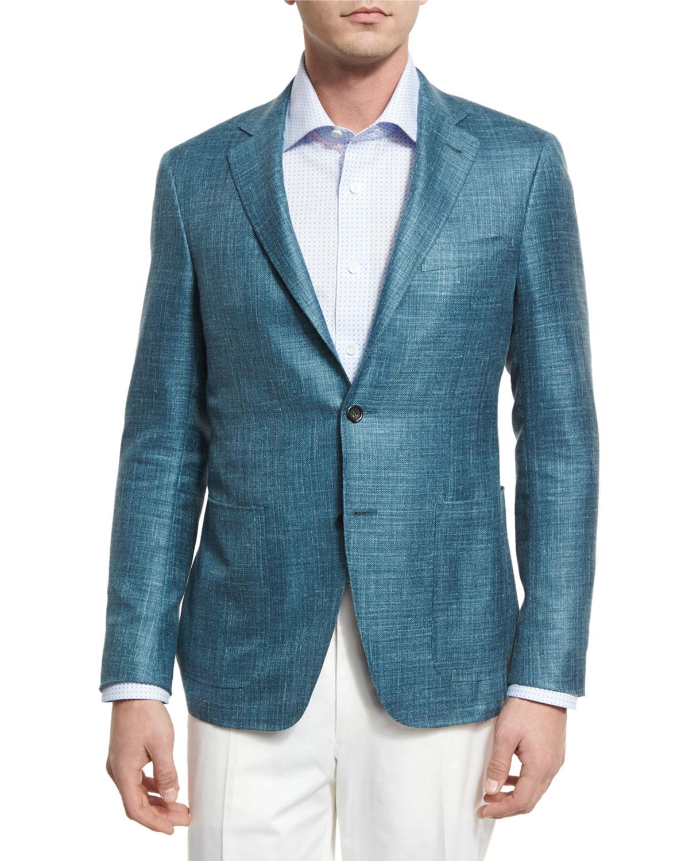 Wool-Blend Two-Button Blazer, Teal Green